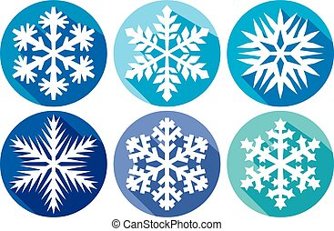 Snowflakes flat icons collection