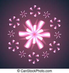 snowflakes., fleurs, feud'artifice