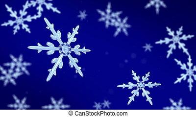 snowflakes focusing 4K blue - Ice crystal snowflakes of...