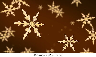 snowflakes focusing 4K gold - Ice crystal snowflakes of...