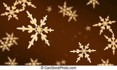 snowflakes focusing background gold hd - Ice crystal...