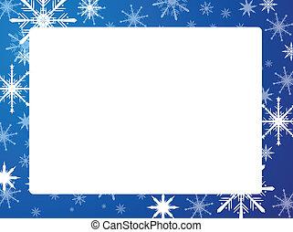 Snowflakes frame blue