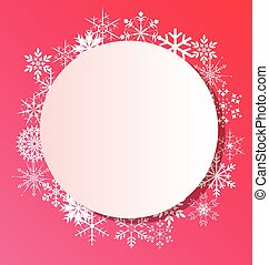 Snowflakes frame on pink background