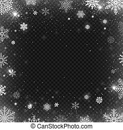 Snowflakes frame. Winter snowed border, frost snowflake and christmas cold blizzard snow greeting card vector design template