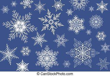 snowflakes, fundo, inverno