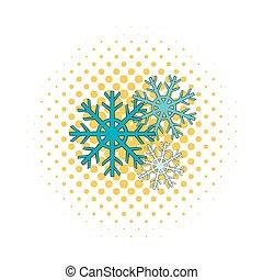 Snowflakes icon, comics style