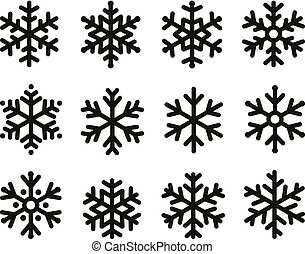 Snowflakes icon set, linear black design, freeze symbol collection, vector logo. Elements of decorating New Years and Christmas holidays.