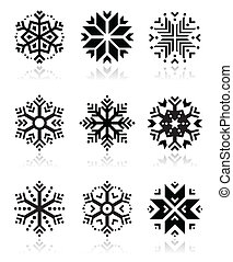 Snowflakes icon set on white