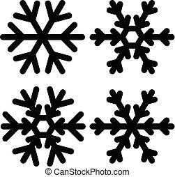 Snowflakes icon set vector illustration. Black and white.