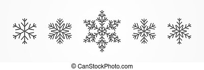 Snowflakes icons set isolated on white.