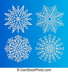 Snowflakes Icons Set of Different Shape and Forms