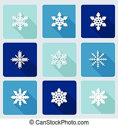 Snowflakes icons with long shadow