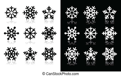 Snowflakes icons with shadow on bla