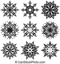snowflakes - vector illustration of a set of snowflakes