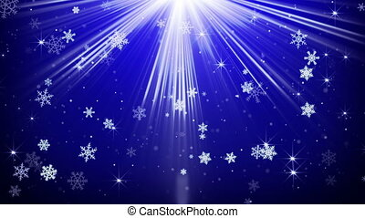 snowflakes in blue light beams loopable animation