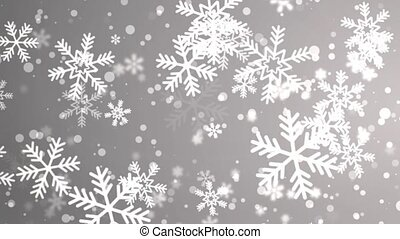 snowflakes in different shapes and forms. Many white cold ...