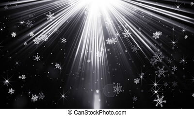 snowflakes in light beams on black loopable background