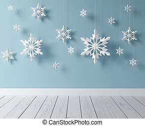 snowflakes in room - white snowflakes in blue room