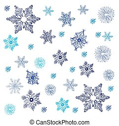 snowflakes in sketch style, vector illustration