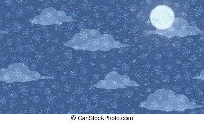Snowflakes in Sky, Seamless Loop