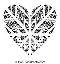 Snowflakes in the form of heart on a blue background. Decoration snowflakes for New Year, Christmas, winter holidays. Vector Illustration