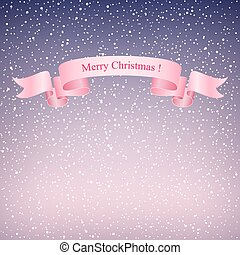 Snowflakes in the Purple Sky and Pink Ribbon