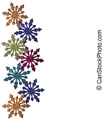 snowflakes, inverno, borda, coloridos