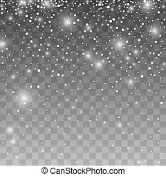 snowflakes., isolé, illustration, réaliste, vecteur, fond, tomber, transparent