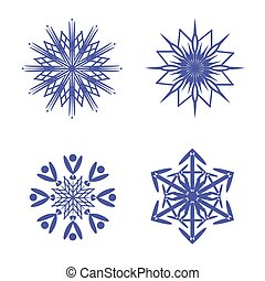 Snowflakes isolated on white background. Vector illustration