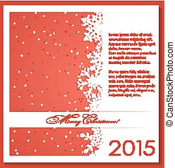 snowflakes., kerstmis, achtergrond, rood