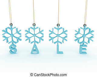 Snowflakes labels with sale on white background. 3D image