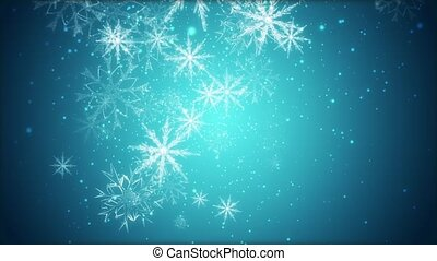 Snowflakes - Large snowflakes are moving across a blue...