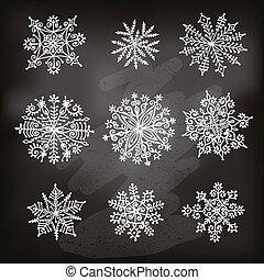 snowflakes., main, dessiné
