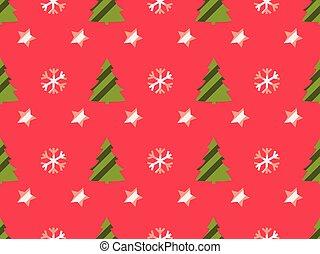 snowflakes, model, bomen, seamless, stars., vector, kerstmis, illustration.