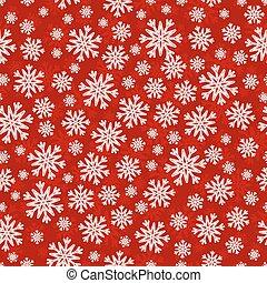 snowflakes, model, seamless, witte kerst, rood