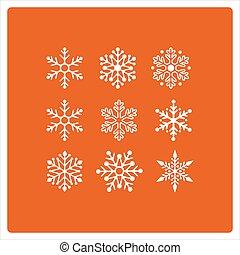 snowflakes, natal, fundo, ícones