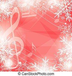 snowflakes, notas, feriados, luminoso, vetorial, música, fundo, natal, vermelho