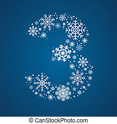 snowflakes, nummer 3, vector, ijzig, lettertype