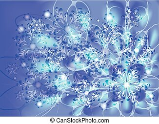 Snowflakes on a blue frosty background. EPS10 vector illustration