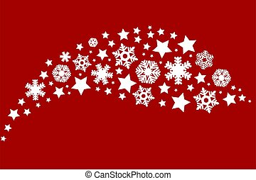 Snowflakes on a red background. Decoration for christmas and new year