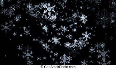 Snowflakes on black background