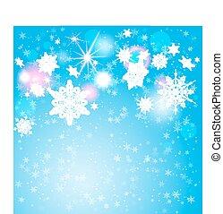 Snowflakes on blue backdrop
