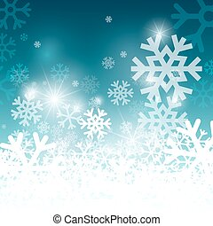 Snowflakes on Blue Background. Christmas Pattern. Frozen Vector Blurred Pattern.