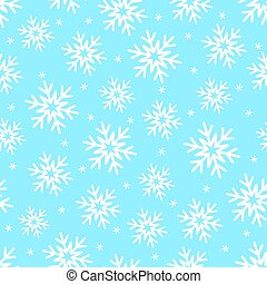 Snowflakes on blue seamless vector pattern