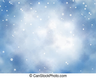 Snowflakes on Blue - Snowflakes on blue and white mottled...