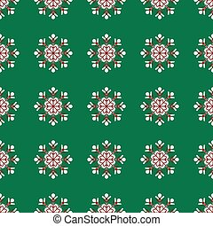 snowflakes on green background Christmas seamless pattern