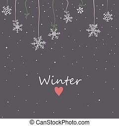 Snowflakes on night sky background