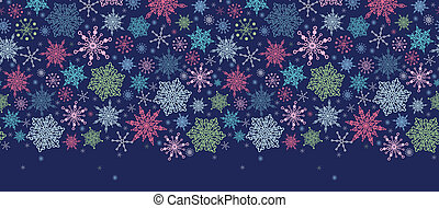 Snowflakes On Night Sky Horizontal Seamless Pattern Border