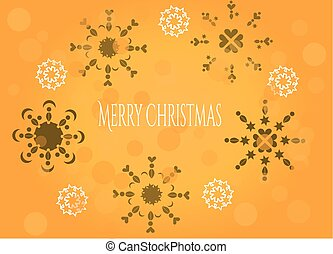 Snowflakes on orange background