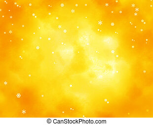 Snowflakes over yellow and orange mottled background.